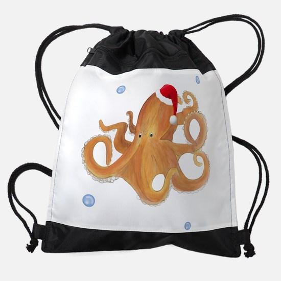 Christmas Octopus Drawstring Bag