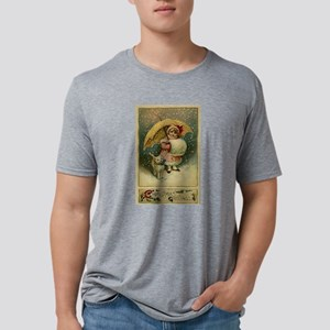 Victorian Vintage Retro Child and Cat Chri T-Shirt
