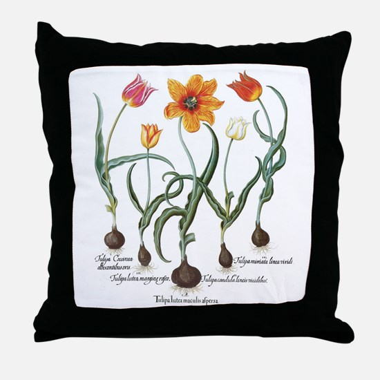 Vintage Tulips by Basilius Besler Throw Pillow