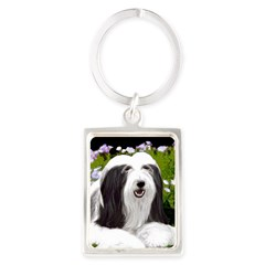 Bearded Collie (Painting) Portrait Keychain