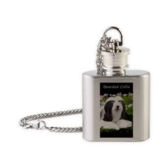 Bearded Collie (Painting) Flask Necklace