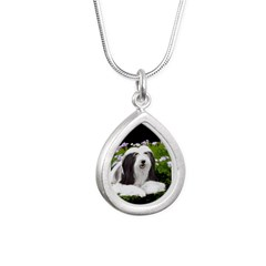 Bearded Collie (Painting Silver Teardrop Necklace