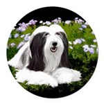 Bearded Collie (Painting) Round Car Magnet