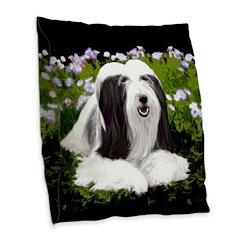 Bearded Collie (Painting) Burlap Throw Pillow