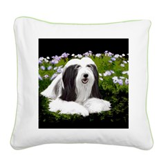 Bearded Collie (Painting) Square Canvas Pillow