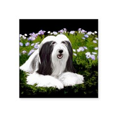Bearded Collie (Painting) Square Sticker 3
