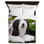 Bearded Collie (Painting) Queen Duvet