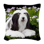 Bearded Collie (Painting) Woven Throw Pillow