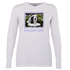 Bearded Collie (Painting Plus Size Long Sleeve Tee