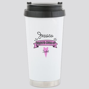 Proud Mom Of Daughter Stainless Steel Travel Mug