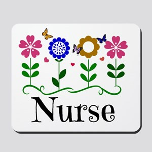 Nurse, pretty graphic flowers Mousepad