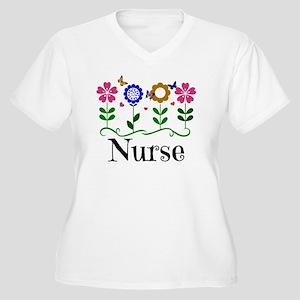 Nurse, pretty gra Women's Plus Size V-Neck T-Shirt