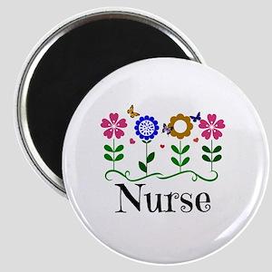 Nurse, pretty graphic flowers Magnet