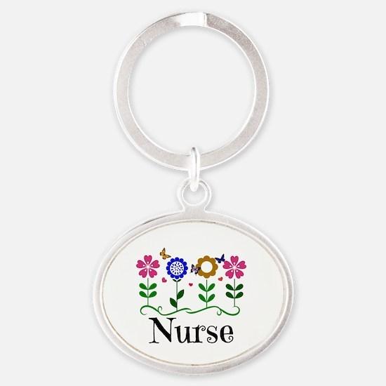 Nurse, pretty graphic flowers Oval Keychain