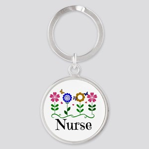 Nurse, pretty graphic flowers Round Keychain