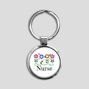 Nurse, pretty graphic flowers Round Keychain