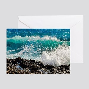 Ocean Waves Low Poly Triangles Greeting Cards
