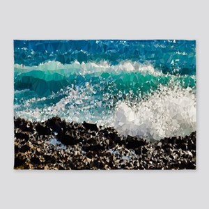 Ocean Waves Low Poly Triangles 5'x7'Area Rug
