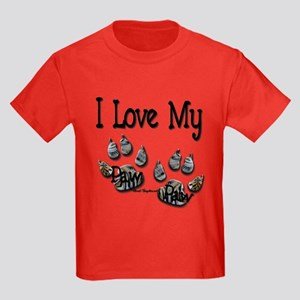 I Love My Paw Paw2 Kids Dark T-Shirt