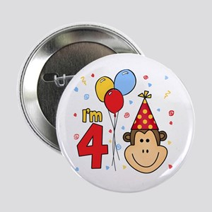 Monkey Face 4th Birthday Button