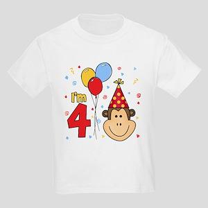 Monkey Face 4th Birthday Kids Light T-Shirt