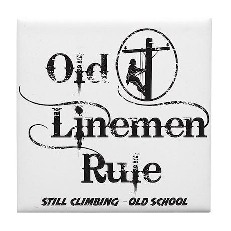 Old Linemen Rule Tile Coaster