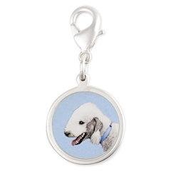 Bedlington Terrier Silver Round Charm