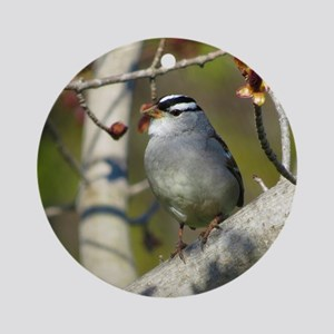 white crowded sparrow Round Ornament