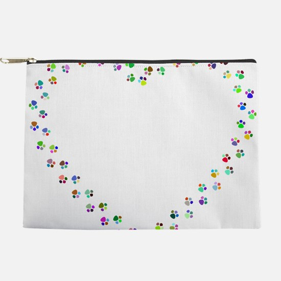 Prismatic Rainbow Pawprint Heart Makeup Pouch