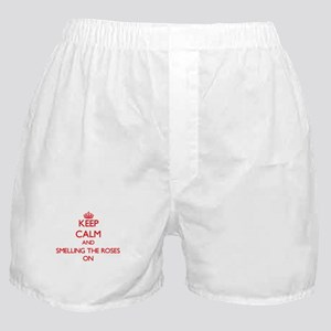 Keep Calm and Smelling The Roses ON Boxer Shorts