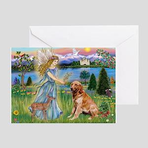 Garden Angel / Golden Sticker Greeting Card