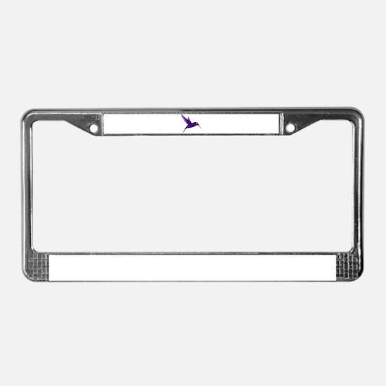 Purple Humming Bird License Plate Frame