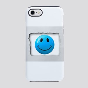Turquoise Smile Face on White iPhone 7 Tough Case
