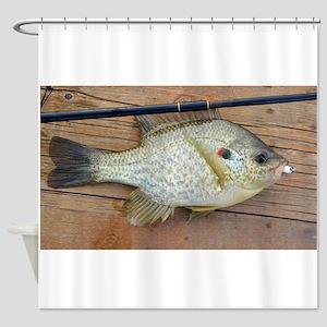 Shell Cracker 2. Red Ear Fish Retro Shower Curtain