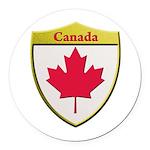 Canada Metallic Shield Round Car Magnet