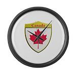 Canada Metallic Shield Large Wall Clock