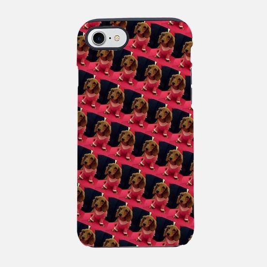 Kawaii Pink Dachshund Doggie 4 iPhone 7 Tough Case