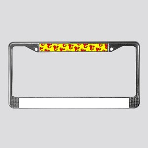Cute Cheeky Lobster Red Yellow License Plate Frame