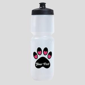 Personalizable Paw Print Sports Bottle