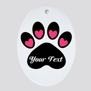 Personalizable Paw Print Oval Ornament