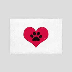 pawprintheartplain 4' x 6' Rug