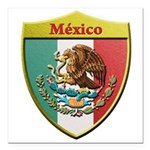 Mexico Metallic Shield Square Car Magnet 3