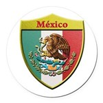 Mexico Metallic Shield Round Car Magnet