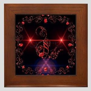 Music, key notes with floral elements Framed Tile