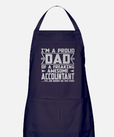PROUD DAD AWESOME ACCOUNTANT Apron (dark)