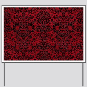 DAMASK2 BLACK MARBLE & RED LEATHER Yard Sign