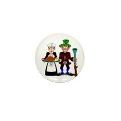 Thanksgiving Pilgrims Mini Button