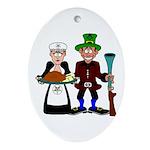 Thanksgiving Pilgrims Oval Ornament
