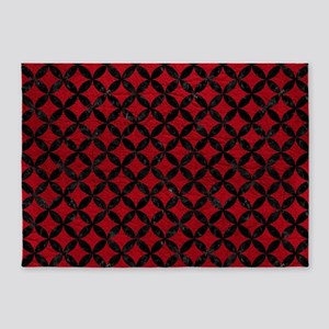 CIRCLES3 BLACK MARBLE & RED LEATHER 5'x7'Area Rug