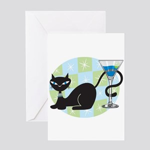 Cocktail Kitty Greeting Card